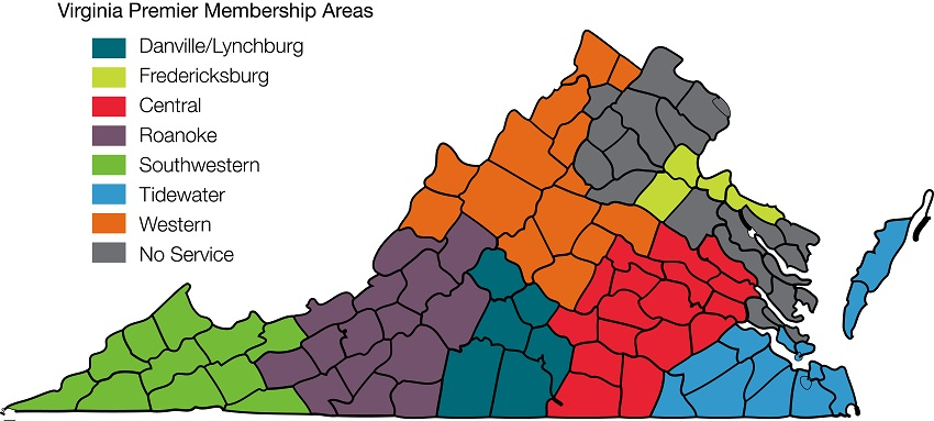 chart showing virginia premier's service area