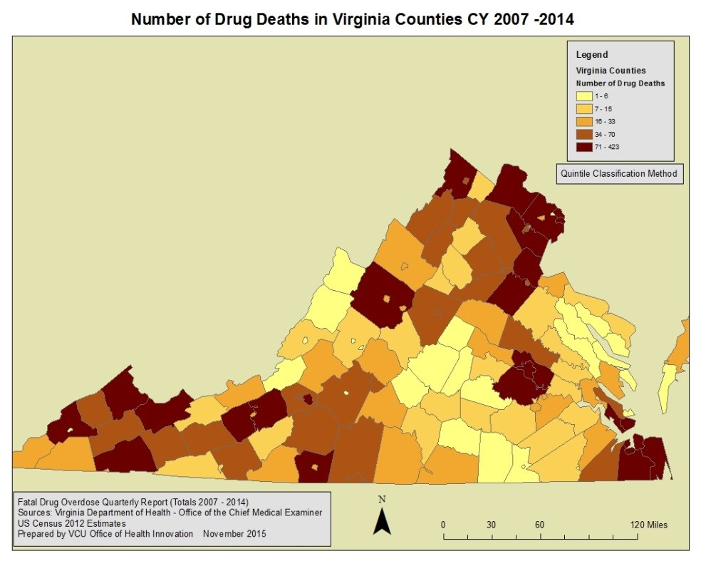map of virginia showing deaths per county due to fatal drug overdose