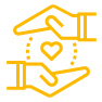 yellow hands and heart icon